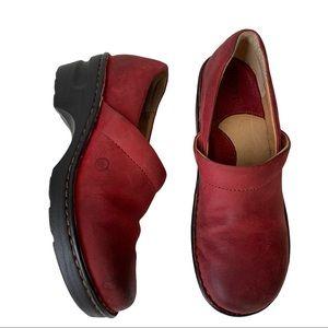 Born Nubuck Leather Closed Back Clogs in Wine